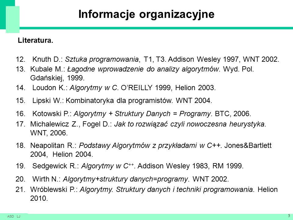 Informacje organizacyjne Literatura. 12. Knuth D.: Sztuka programowania, T1, T3.