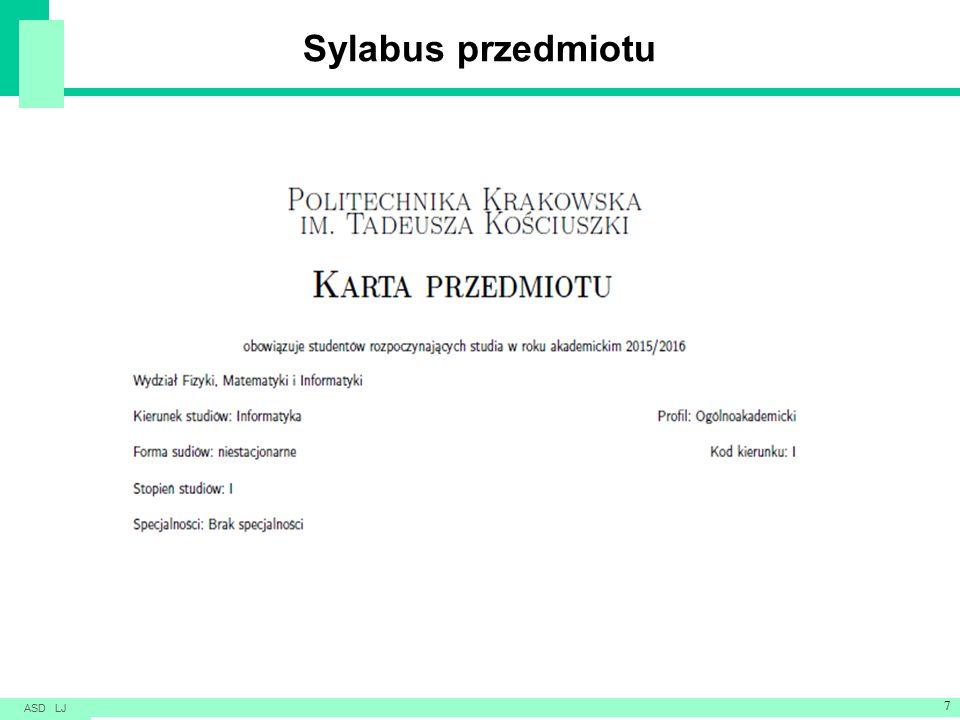 Sylabus przedmiotu ASD LJ 7