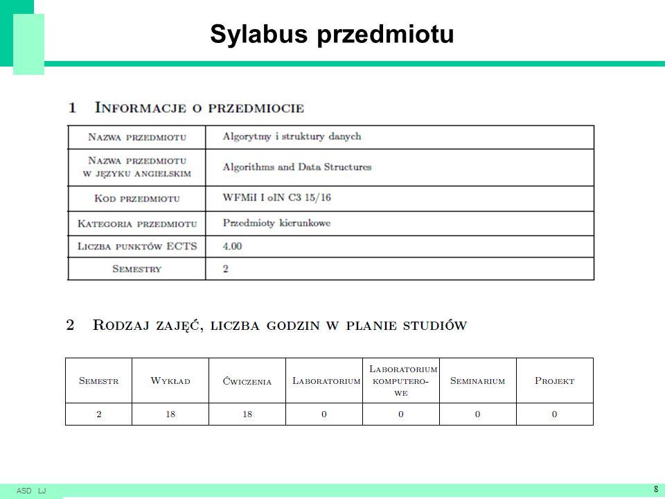 Sylabus przedmiotu ASD LJ 8