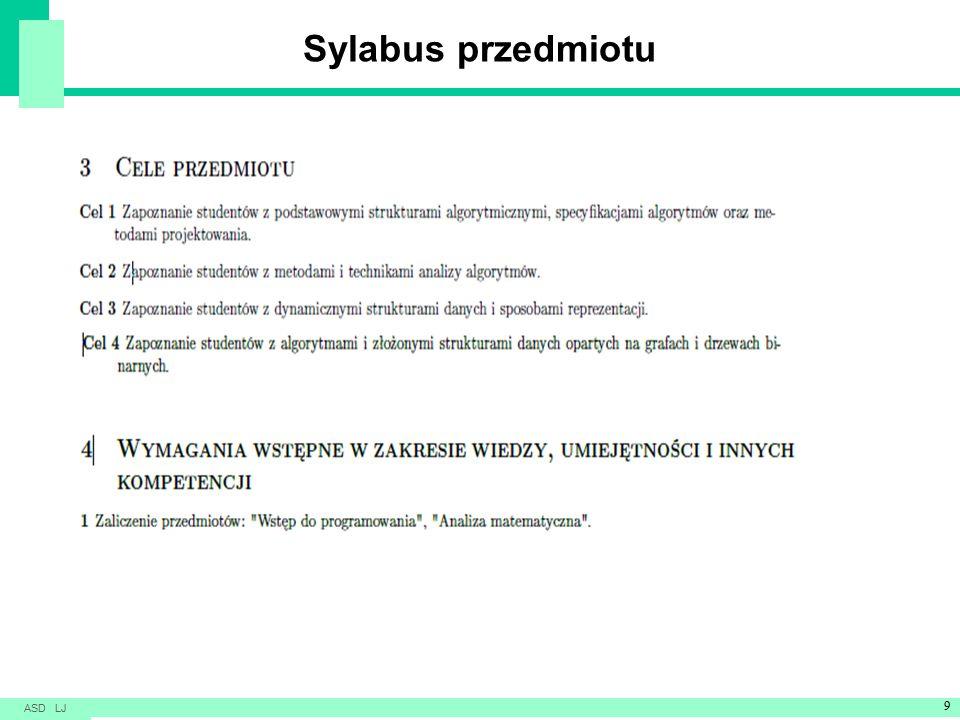 Sylabus przedmiotu ASD LJ 9
