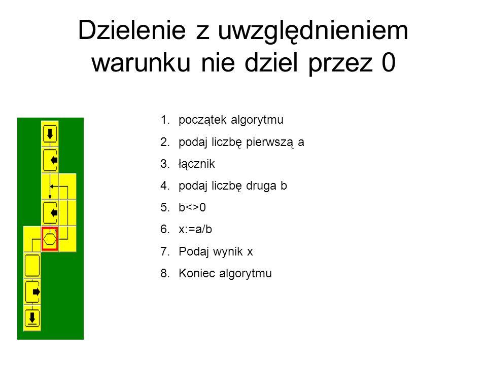 Dzielenie z uwzględnieniem warunku nie dziel przez 0 1.początek algorytmu 2.podaj liczbę pierwszą a 3.łącznik 4.podaj liczbę druga b 5.b<>0 6.x:=a/b 7.Podaj wynik x 8.Koniec algorytmu