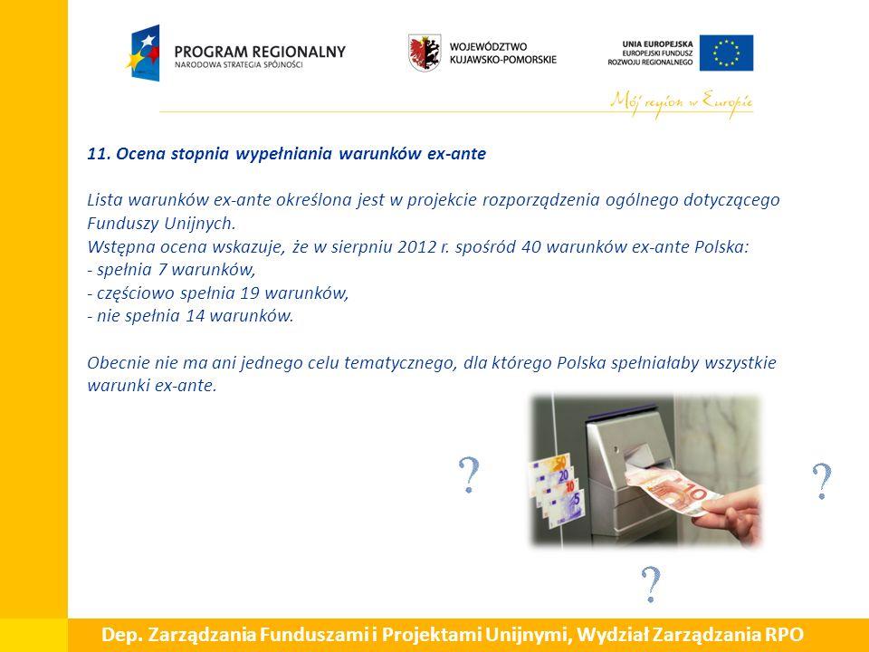  11. Ocena stopnia wypełniania warunków ex-ante Lista warunków ex-ante określona jest w projekcie rozporządzenia ogólnego dotyczącego Funduszy Unijny