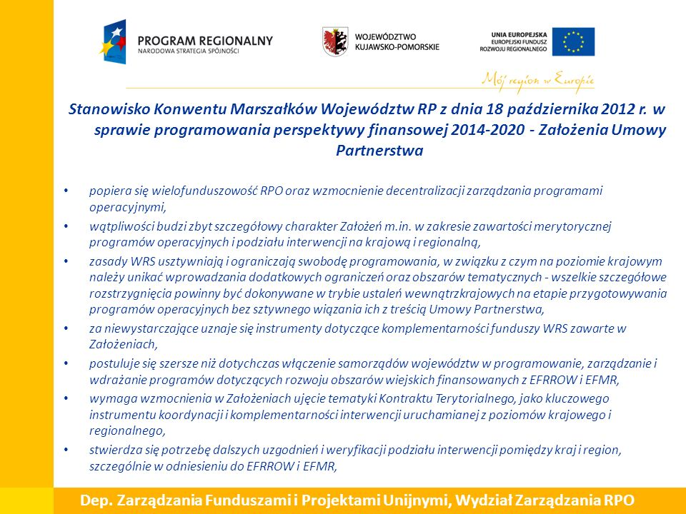 Stanowisko Konwentu Marszałków Województw RP z dnia 18 października 2012 r.