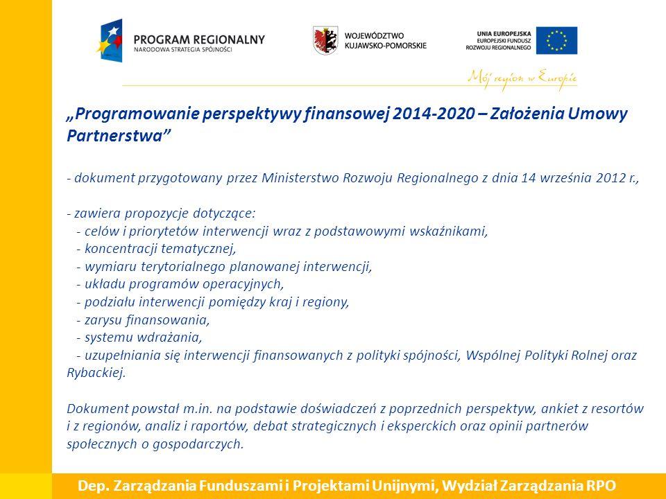 """ """"Programowanie perspektywy finansowej 2014-2020 – Założenia Umowy Partnerstwa - dokument przygotowany przez Ministerstwo Rozwoju Regionalnego z dnia 14 września 2012 r., - zawiera propozycje dotyczące: - celów i priorytetów interwencji wraz z podstawowymi wskaźnikami, - koncentracji tematycznej, - wymiaru terytorialnego planowanej interwencji, - układu programów operacyjnych, - podziału interwencji pomiędzy kraj i regiony, - zarysu finansowania, - systemu wdrażania, - uzupełniania się interwencji finansowanych z polityki spójności, Wspólnej Polityki Rolnej oraz Rybackiej."""