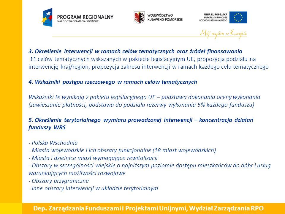  3. Określenie interwencji w ramach celów tematycznych oraz źródeł finansowania 11 celów tematycznych wskazanych w pakiecie legislacyjnym UE, propozy
