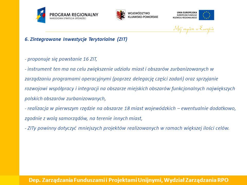  6. Zintegrowane Inwestycje Terytorialne (ZIT) - proponuje się powstanie 16 ZIT, - instrument ten ma na celu zwiększenie udziału miast i obszarów zur