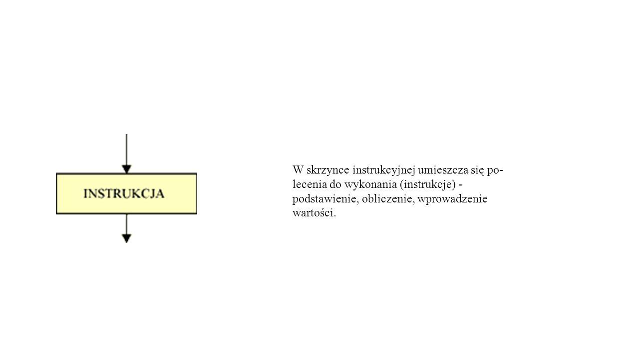W skrzynce instrukcyjnej umieszcza się po- lecenia do wykonania (instrukcje) - podstawienie, obliczenie, wprowadzenie wartości.