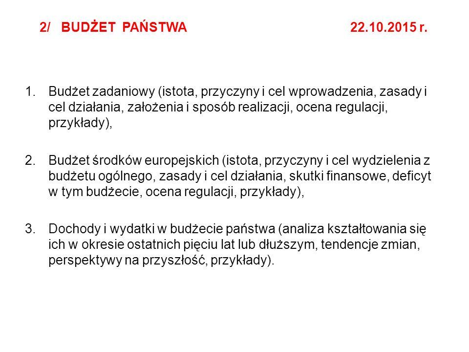 2/ BUDŻET PAŃSTWA 22.10.2015 r. 1.Budżet zadaniowy (istota, przyczyny i cel wprowadzenia, zasady i cel działania, założenia i sposób realizacji, ocena