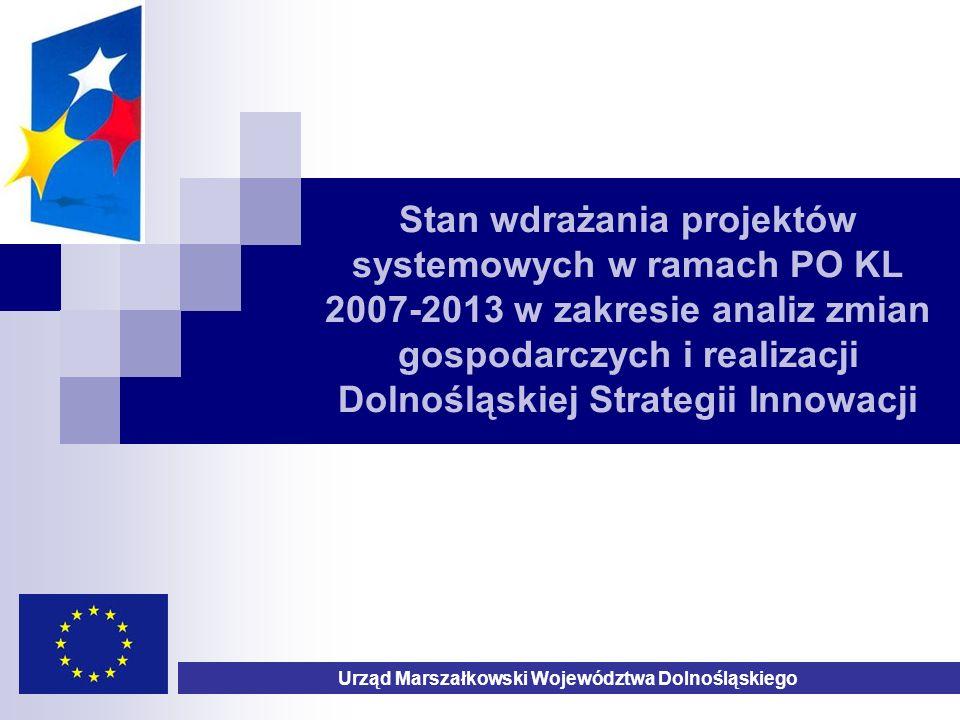 Stan wdrażania projektów systemowych w ramach PO KL 2007-2013 w zakresie analiz zmian gospodarczych i realizacji Dolnośląskiej Strategii Innowacji Urząd Marszałkowski Województwa Dolnośląskiego