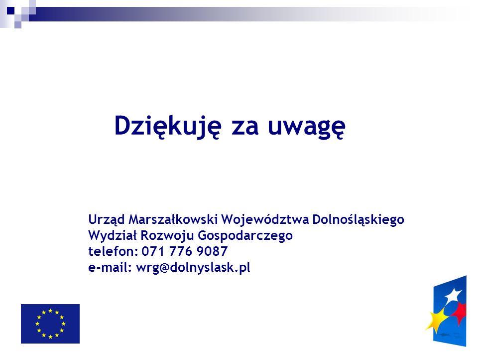 Dziękuję za uwagę Urząd Marszałkowski Województwa Dolnośląskiego Wydział Rozwoju Gospodarczego telefon: 071 776 9087 e-mail: wrg@dolnyslask.pl