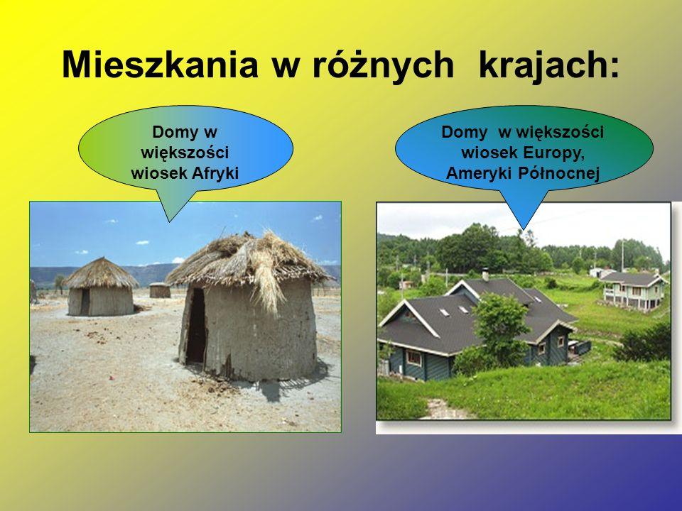 Mieszkania w różnych krajach: Domy w większości wiosek Afryki Domy w większości wiosek Europy, Ameryki Północnej