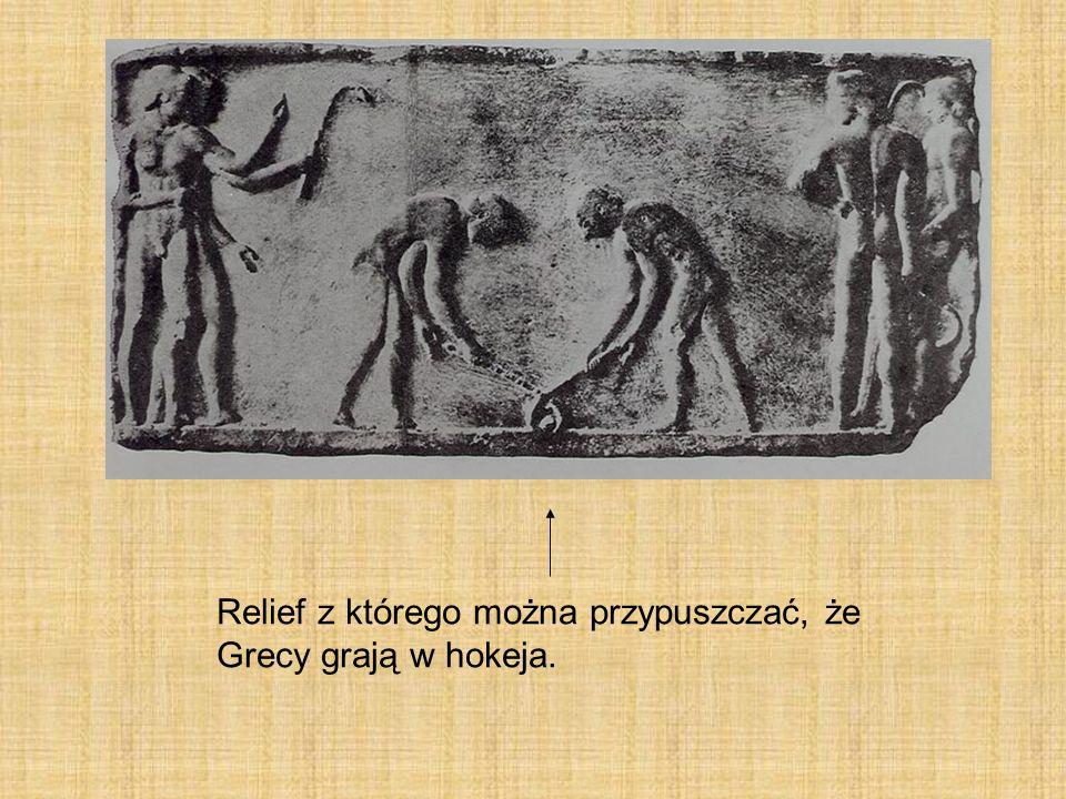 Relief z którego można przypuszczać, że Grecy grają w hokeja.