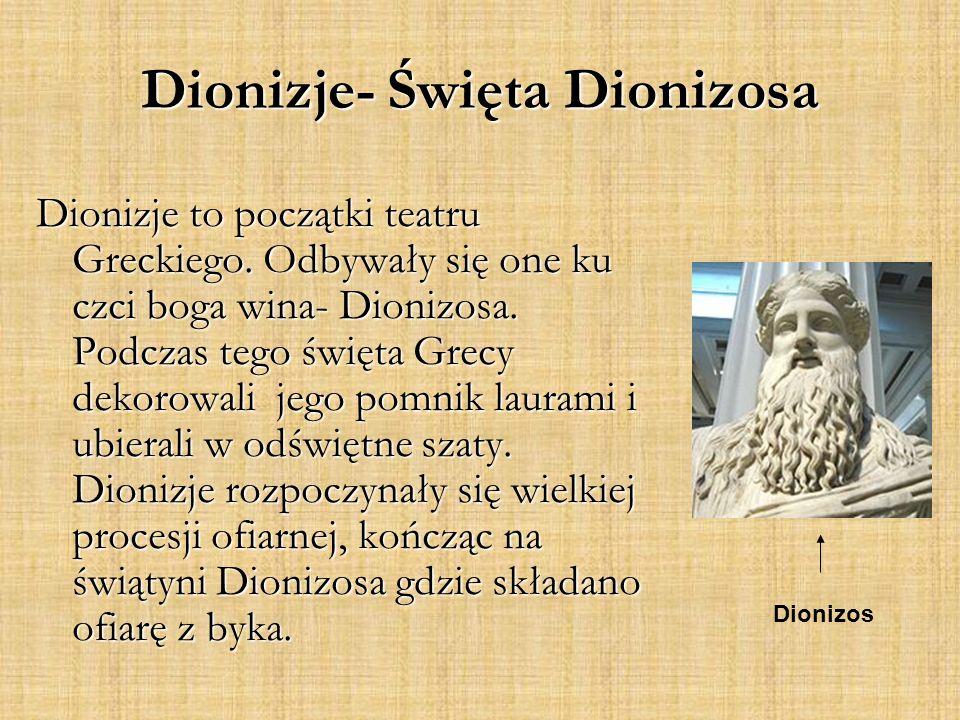 Dionizje- Święta Dionizosa Dionizje to początki teatru Greckiego.