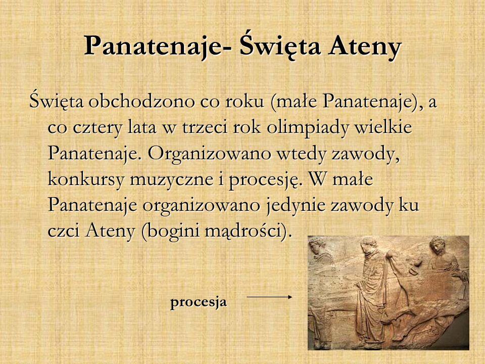 procesja Święta obchodzono co roku (małe Panatenaje), a co cztery lata w trzeci rok olimpiady wielkie Panatenaje.