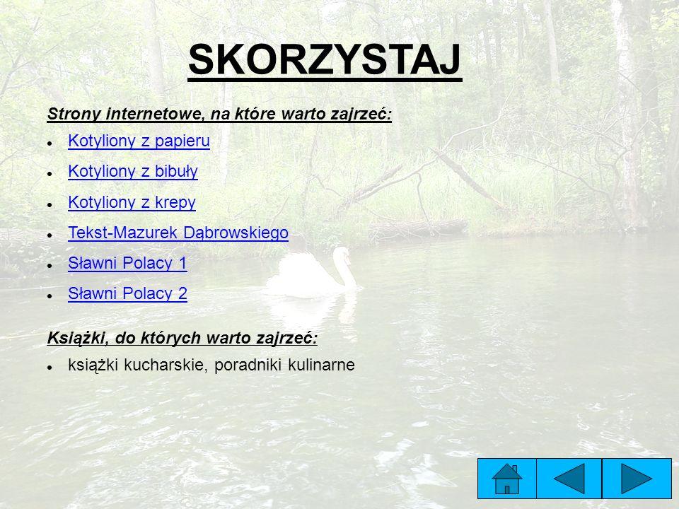 Strony internetowe, na które warto zajrzeć: Kotyliony z papieru Kotyliony z bibuły Kotyliony z krepy Tekst-Mazurek Dąbrowskiego Sławni Polacy 1 Sławni