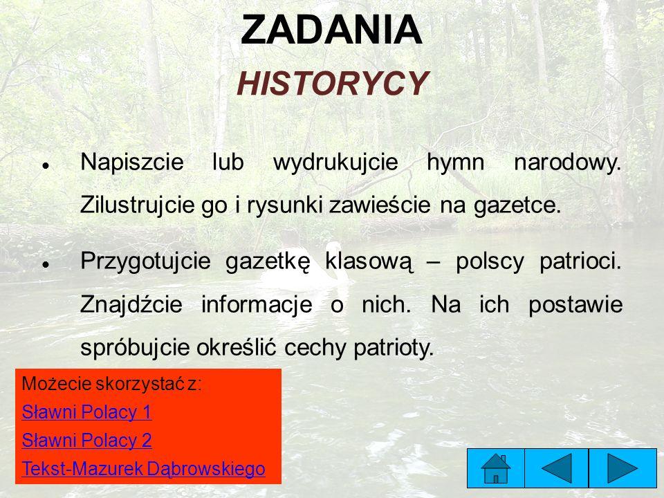 ZADANIA HISTORYCY Napiszcie lub wydrukujcie hymn narodowy. Zilustrujcie go i rysunki zawieście na gazetce. Przygotujcie gazetkę klasową – polscy patri