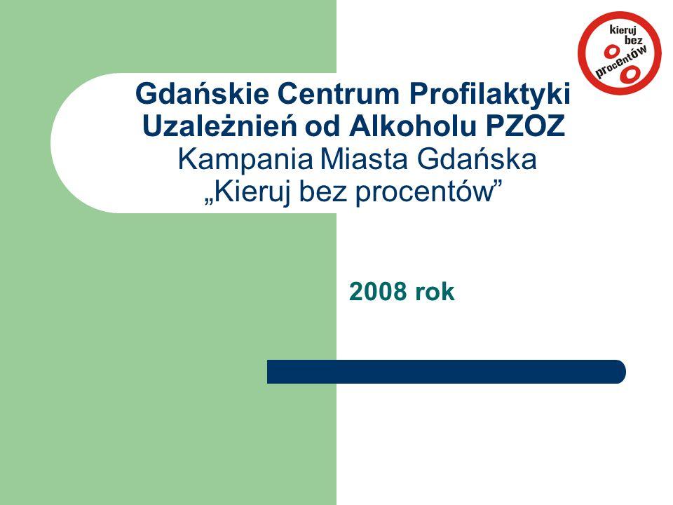 """Gdańskie Centrum Profilaktyki Uzależnień od Alkoholu PZOZ Kampania Miasta Gdańska """"Kieruj bez procentów"""" 2008 rok"""
