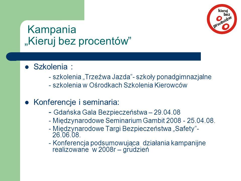 """Szkolenia : - szkolenia """"Trzeźwa Jazda""""- szkoły ponadgimnazjalne - szkolenia w Ośrodkach Szkolenia Kierowców Konferencje i seminaria: - Gdańska Gala B"""