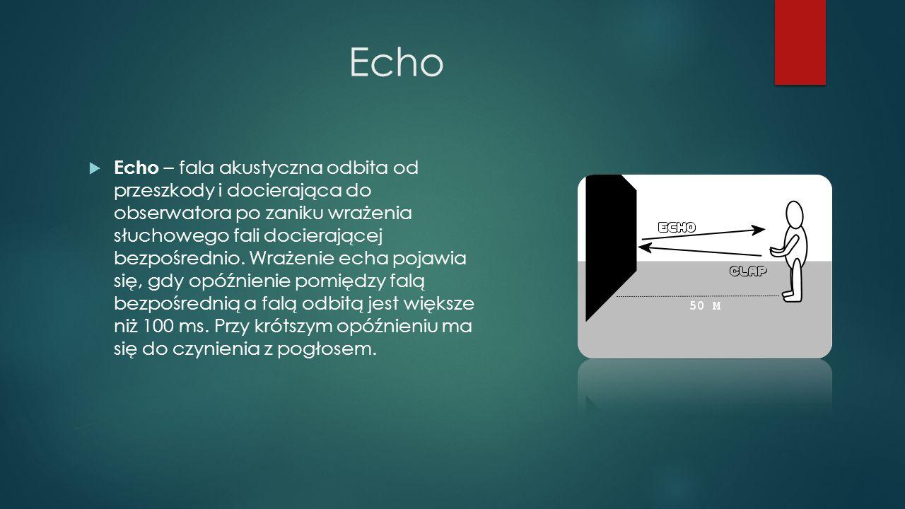 Echo  Echo – fala akustyczna odbita od przeszkody i docierająca do obserwatora po zaniku wrażenia słuchowego fali docierającej bezpośrednio. Wrażenie