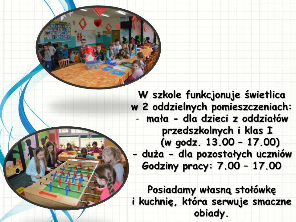 W szkole funkcjonuje świetlica w 2 oddzielnych pomieszczeniach: -mała - dla dzieci z oddziałów przedszkolnych i klas I (w godz. 13.00 – 17.00) (w godz