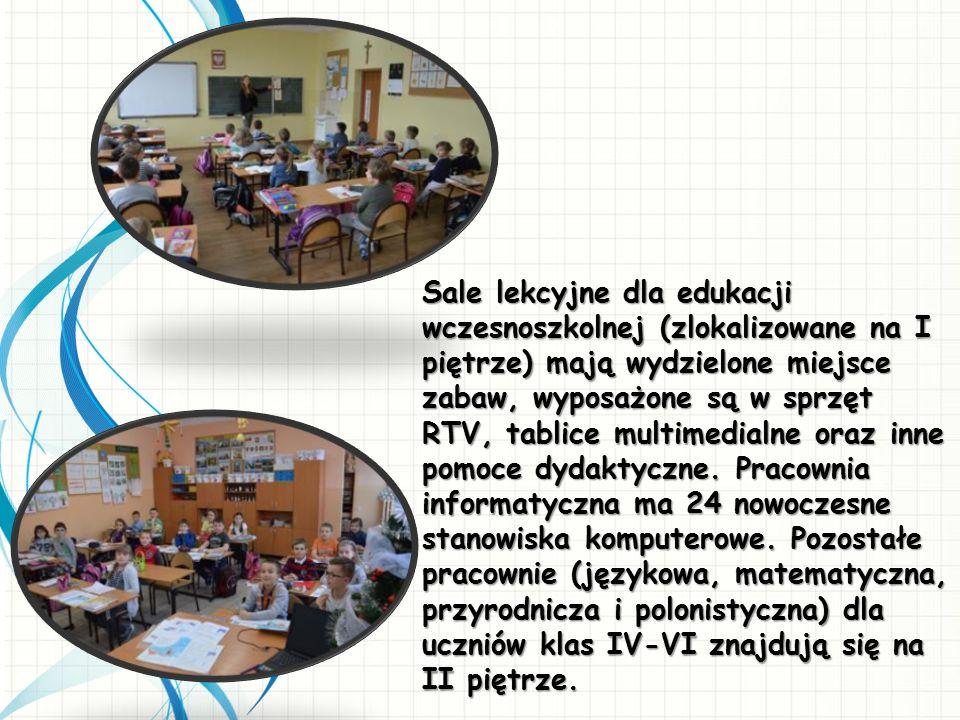 Sale lekcyjne dla edukacji wczesnoszkolnej (zlokalizowane na I piętrze) mają wydzielone miejsce zabaw, wyposażone są w sprzęt RTV, tablice multimedial