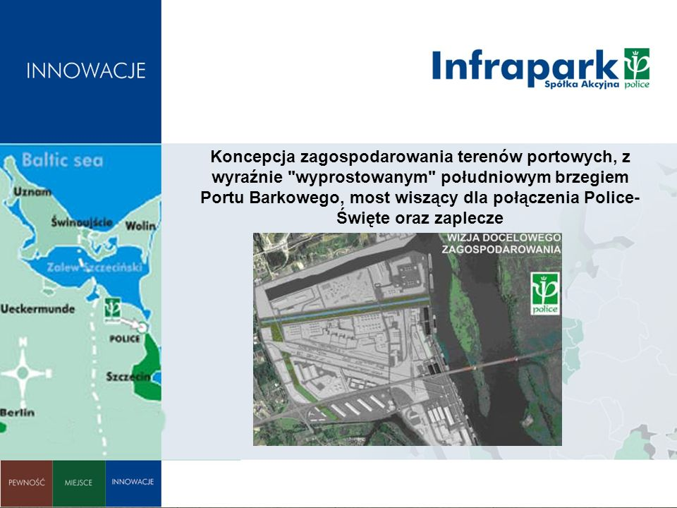 Koncepcja zagospodarowania terenów portowych, z wyraźnie wyprostowanym południowym brzegiem Portu Barkowego, most wiszący dla połączenia Police- Święte oraz zaplecze