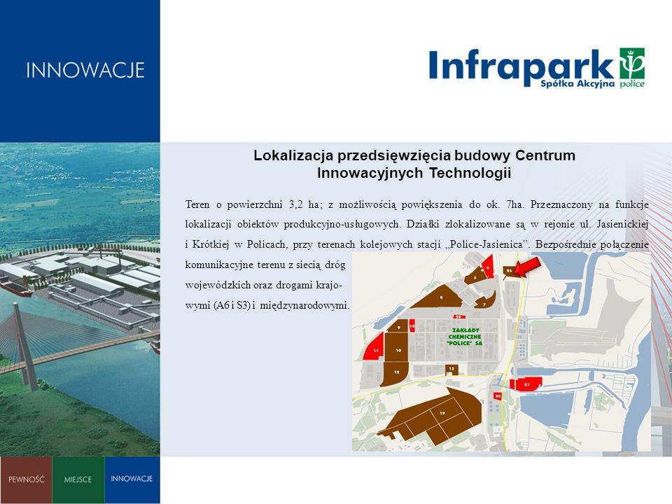 Lokalizacja przedsięwzięcia budowy Centrum Innowacyjnych Technologii Teren o powierzchni 3,2 ha; z możliwością powiększenia do ok. 7ha. Przeznaczony n