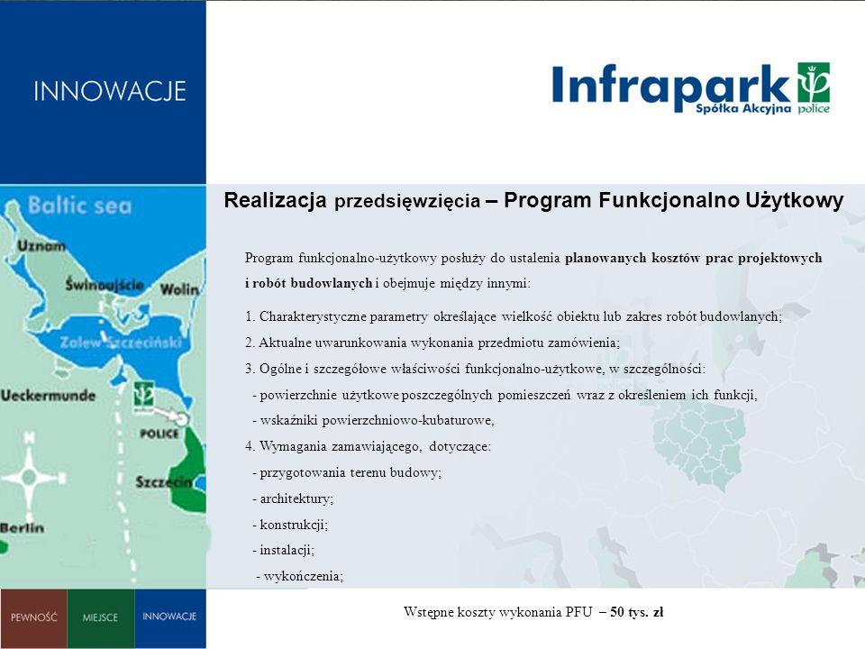 : Realizacja przedsięwzięcia – Program Funkcjonalno Użytkowy Program funkcjonalno-użytkowy posłuży do ustalenia planowanych kosztów prac projektowych i robót budowlanych i obejmuje między innymi: 1.