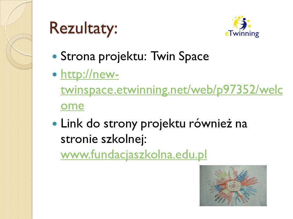 Rezultaty: Strona projektu: Twin Space http://new- twinspace.etwinning.net/web/p97352/welc ome http://new- twinspace.etwinning.net/web/p97352/welc ome Link do strony projektu również na stronie szkolnej: www.fundacjaszkolna.edu.pl www.fundacjaszkolna.edu.pl