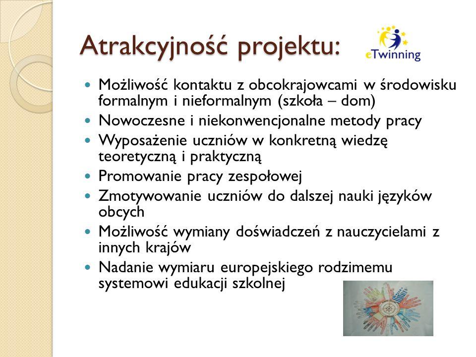 Atrakcyjność projektu: Możliwość kontaktu z obcokrajowcami w środowisku formalnym i nieformalnym (szkoła – dom) Nowoczesne i niekonwencjonalne metody