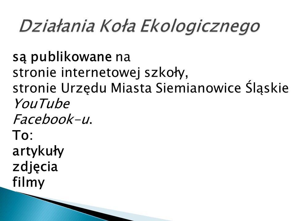 są publikowane na stronie internetowej szkoły, stronie Urzędu Miasta Siemianowice Śląskie YouTube Facebook-u. To: artykuły zdjęcia filmy