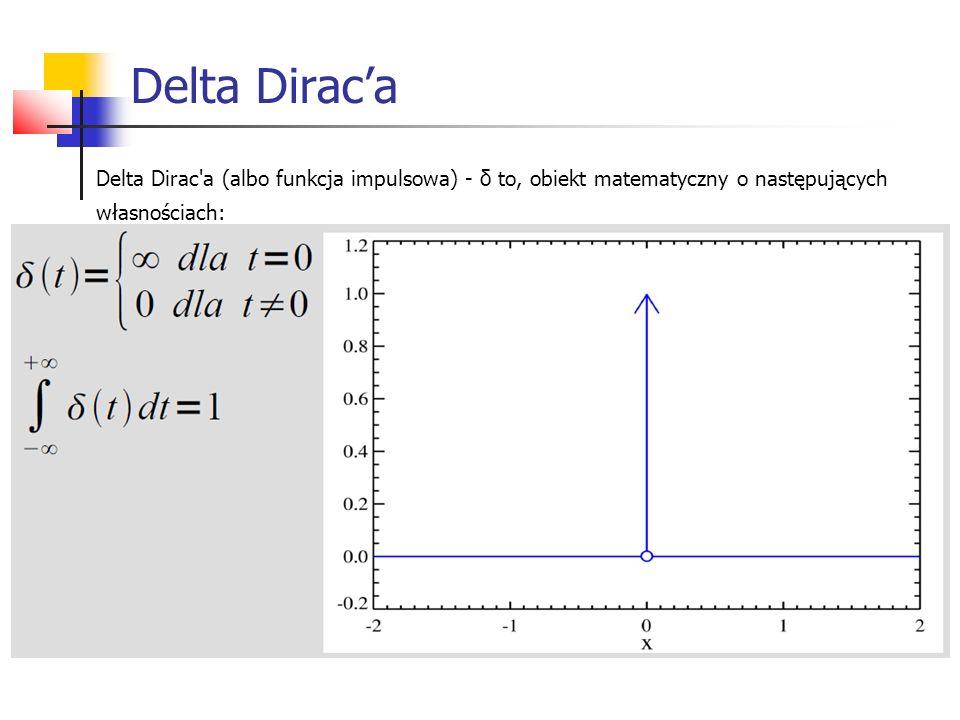 Delta Dirac'a Delta Dirac a (albo funkcja impulsowa) - δ to, obiekt matematyczny o następujących własnościach:
