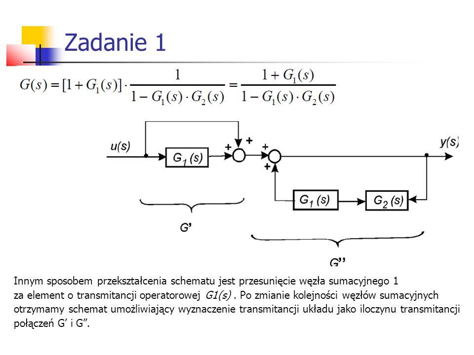 Innym sposobem przekształcenia schematu jest przesunięcie węzła sumacyjnego 1 za element o transmitancji operatorowej G1(s).