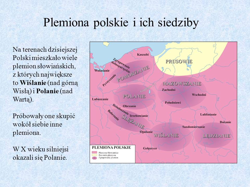 Plemiona polskie i ich siedziby Na terenach dzisiejszej Polski mieszkało wiele plemion słowiańskich, z których największe to Wiślanie (nad górną Wisłą) i Polanie (nad Wartą).
