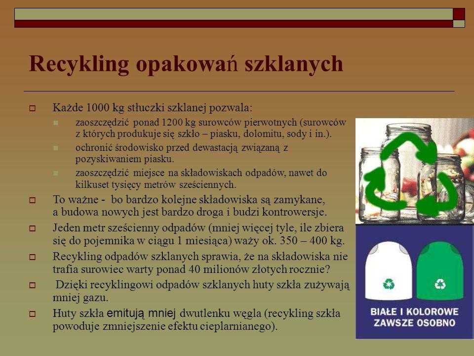 Recykling opakowań szklanych  Każde 1000 kg stłuczki szklanej pozwala: zaoszczędzić ponad 1200 kg surowców pierwotnych (surowców z których produkuje się szkło – piasku, dolomitu, sody i in.).