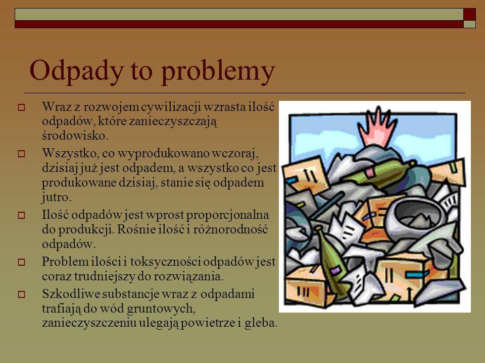 Odpady to problemy  Wraz z rozwojem cywilizacji wzrasta ilość odpadów, które zanieczyszczają środowisko.