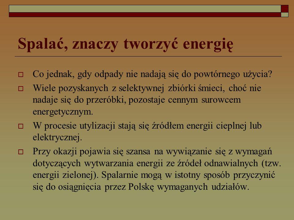 Spalać, znaczy tworzyć energię  Co jednak, gdy odpady nie nadają się do powtórnego użycia.