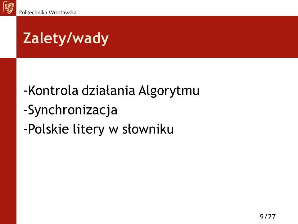 Zalety/wady -Kontrola działania Algorytmu -Synchronizacja -Polskie litery w słowniku 9/27