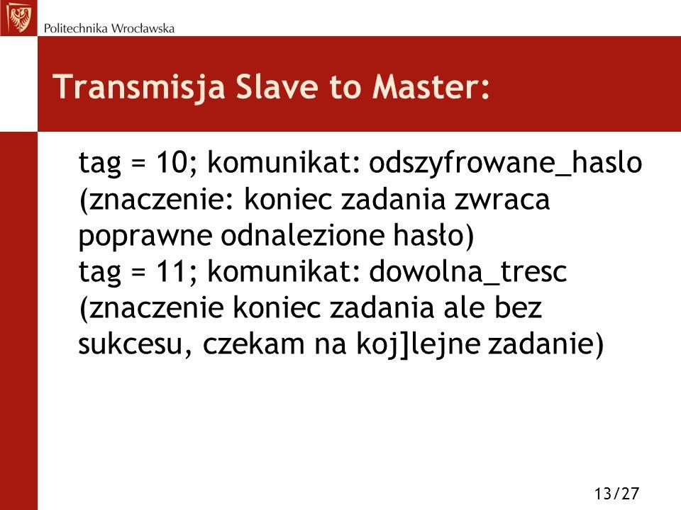 Transmisja Slave to Master: tag = 10; komunikat: odszyfrowane_haslo (znaczenie: koniec zadania zwraca poprawne odnalezione hasło) tag = 11; komunikat: dowolna_tresc (znaczenie koniec zadania ale bez sukcesu, czekam na koj]lejne zadanie) 13/27