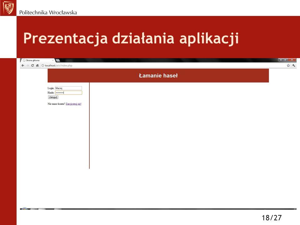 Prezentacja działania aplikacji 18/27