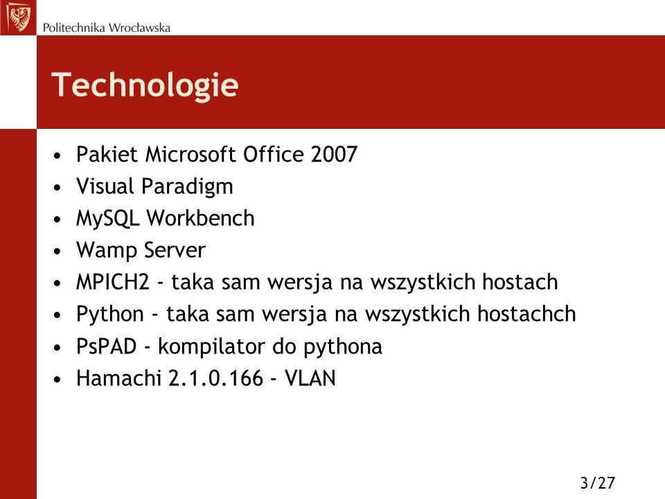 Technologie Pakiet Microsoft Office 2007 Visual Paradigm MySQL Workbench Wamp Server MPICH2 - taka sam wersja na wszystkich hostach Python - taka sam wersja na wszystkich hostachch PsPAD - kompilator do pythona Hamachi 2.1.0.166 - VLAN 3/27