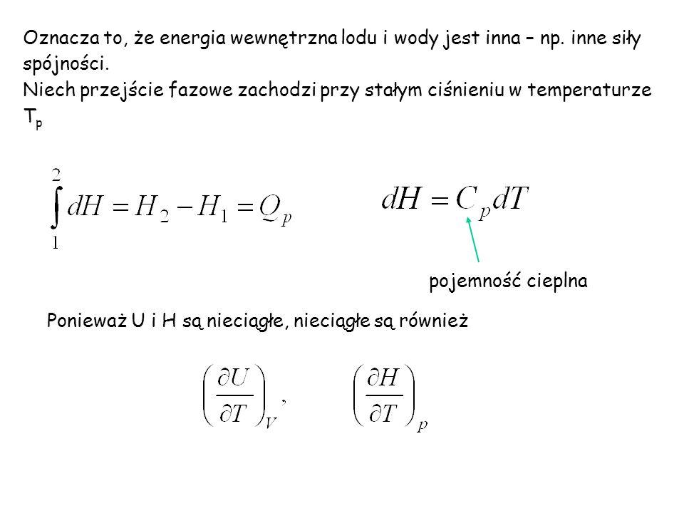 Oznacza to, że energia wewnętrzna lodu i wody jest inna – np.