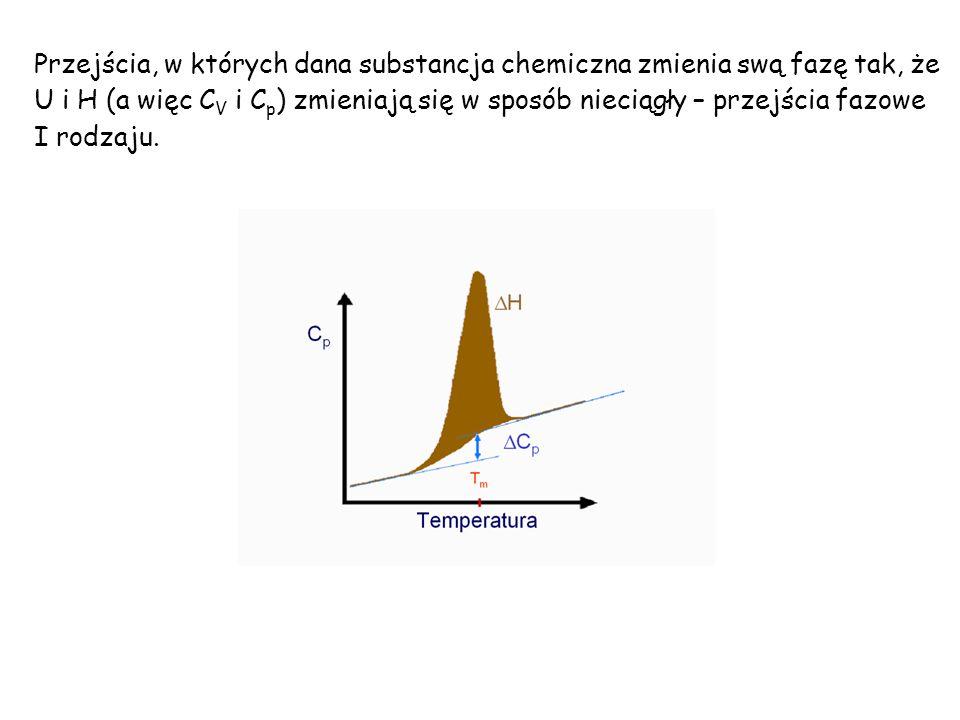 Przejścia, w których dana substancja chemiczna zmienia swą fazę tak, że U i H (a więc C V i C p ) zmieniają się w sposób nieciągły – przejścia fazowe I rodzaju.