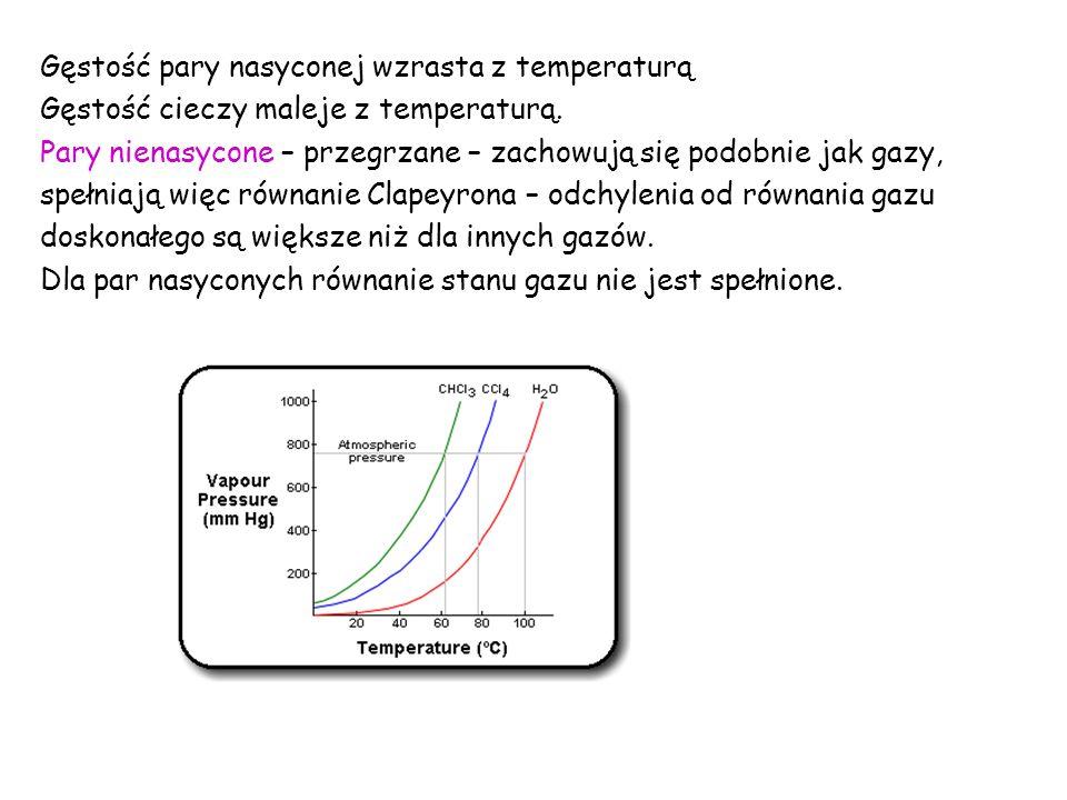 Gęstość pary nasyconej wzrasta z temperaturą Gęstość cieczy maleje z temperaturą.