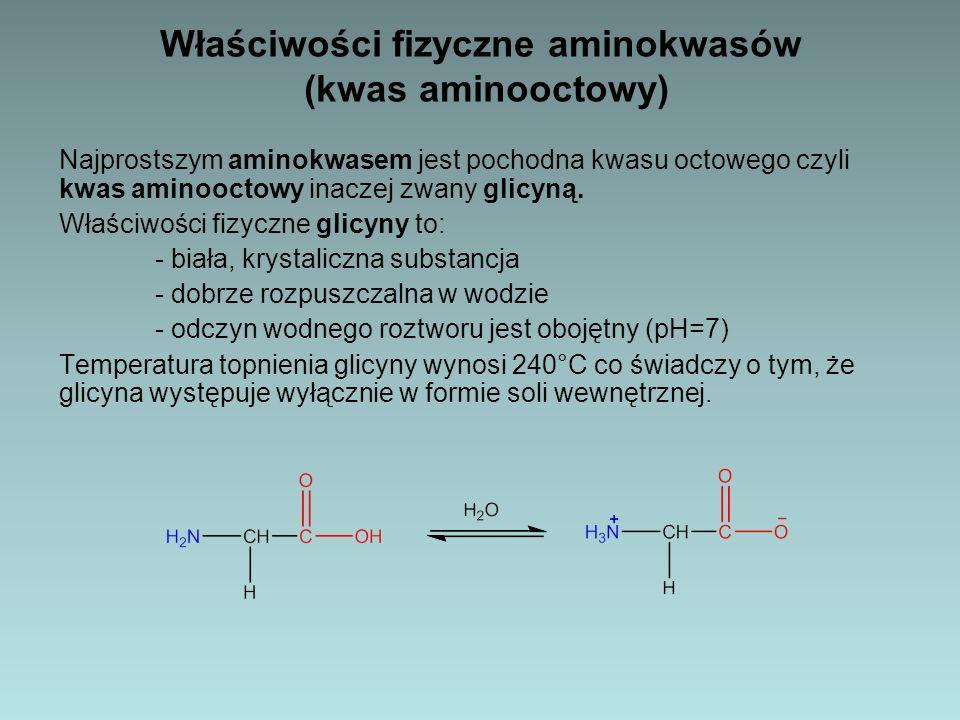 Właściwości chemiczne aminokwasów (kwas aminoocotwy) Właściwości chemiczne glicyny: Obecność grup o charakterze zasadowym i kwasowym w jednej cząsteczce powoduje, że aminokwasy zachowują się jak związki amfoteryczne.