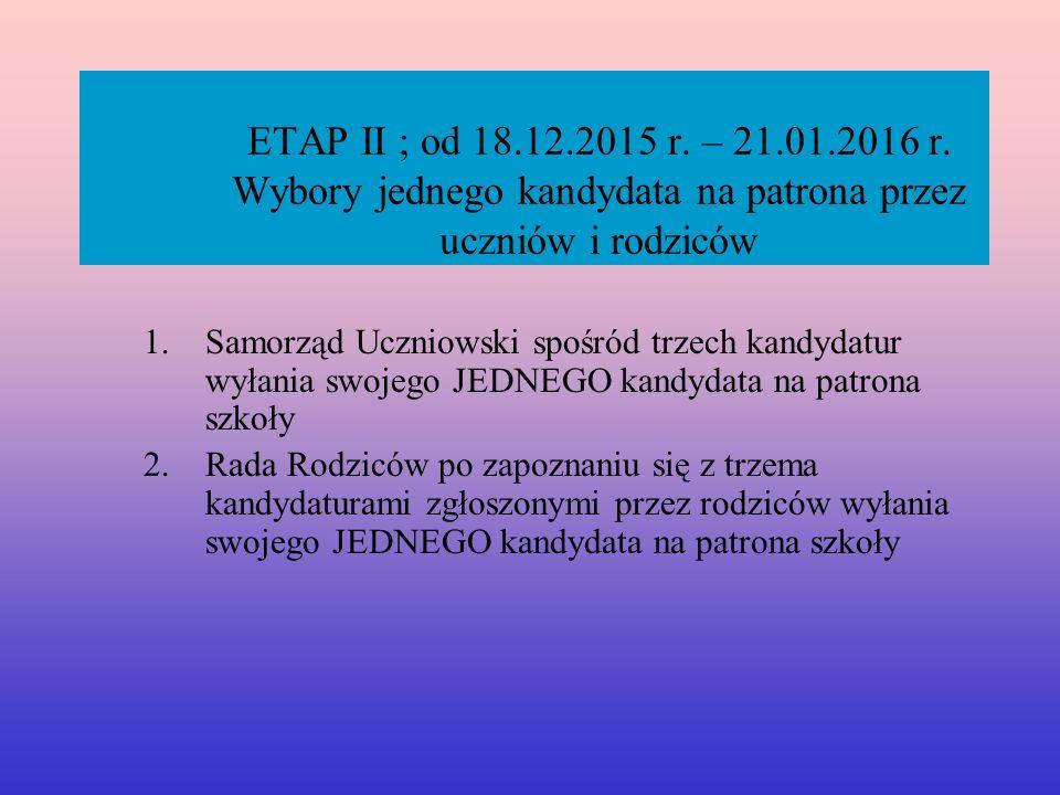 ETAP II ; od 18.12.2015 r. – 21.01.2016 r.