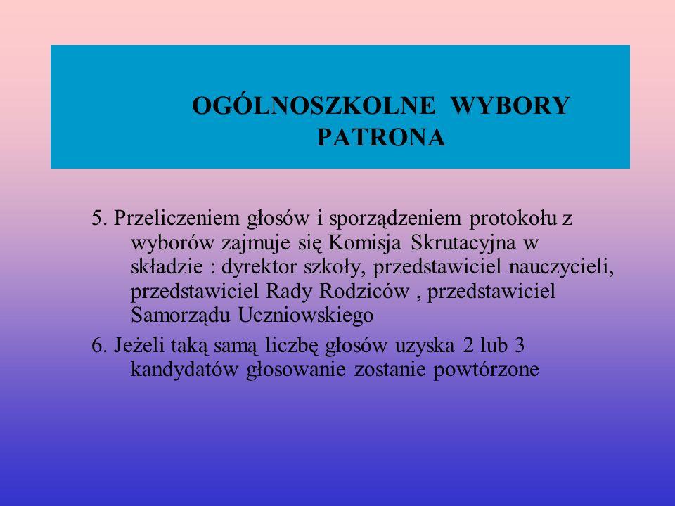 OGÓLNOSZKOLNE WYBORY PATRONA 5.