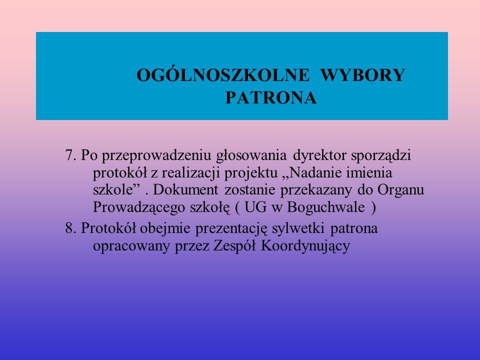 OGÓLNOSZKOLNE WYBORY PATRONA 7.
