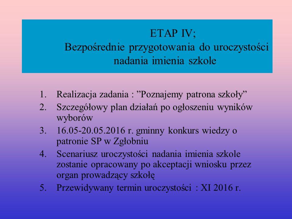 ETAP IV; Bezpośrednie przygotowania do uroczystości nadania imienia szkole 1.Realizacja zadania : Poznajemy patrona szkoły 2.Szczegółowy plan działań po ogłoszeniu wyników wyborów 3.16.05-20.05.2016 r.