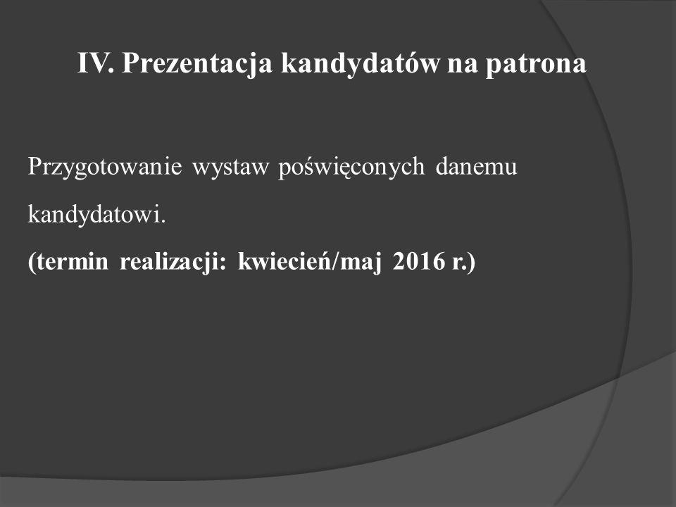 IV. Prezentacja kandydatów na patrona Przygotowanie wystaw poświęconych danemu kandydatowi.